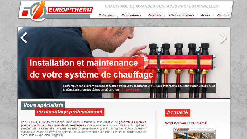creation site web Europ'therm