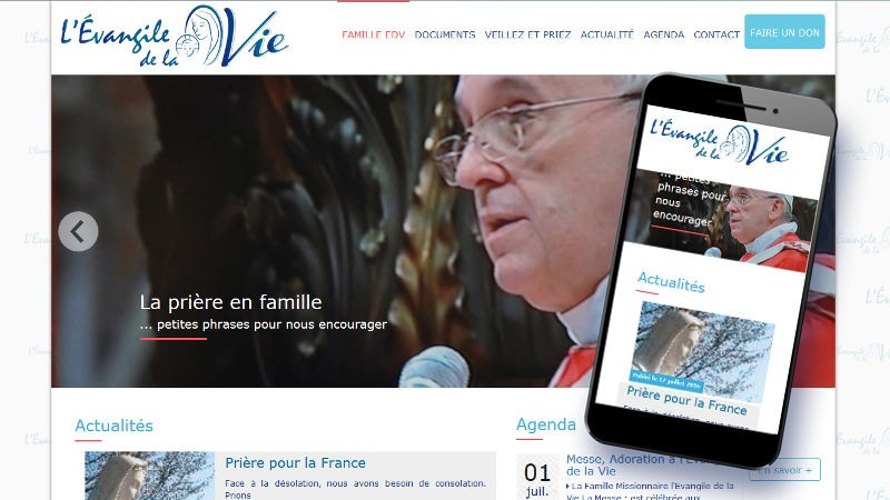 creation site web Evangile de la Vie
