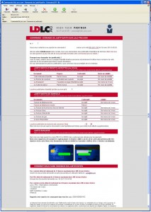 Copie d'écran du mail LDLC Pro