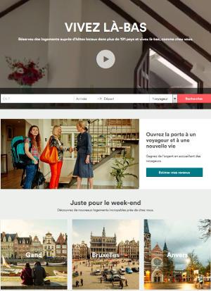 airbnb renouvelle l'accueil de son site internet