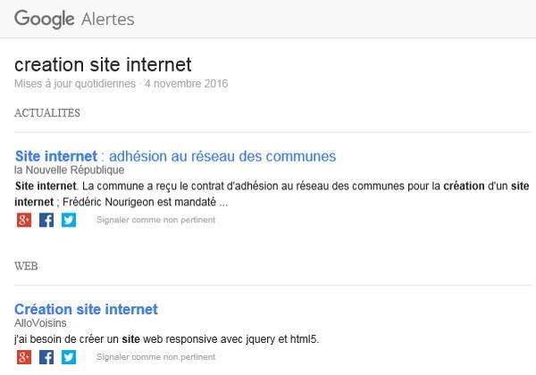 Alerte Google sur création de sites internet et Prix de marché